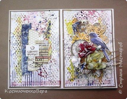 Ещё две открытки получились для души  в свободном стиле. Ближе к шебби походит. фото 9