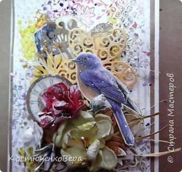 Ещё две открытки получились для души  в свободном стиле. Ближе к шебби походит. фото 7