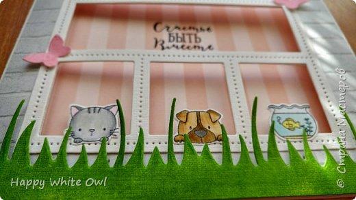 Всем привет! Сегодня хочу поделиться с Вами открыткой с милыми зверушками, смотрящими в окно. фото 2