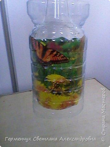 Сегодня  5 июня - Всемирный  день охраны окружающей среды  (День эколога).И  расскажу про   ламинирование пластиковой бутылкой стеклянных баночек ,бутылок ,кувшинов  .Информацию увидела в Интернете и решила попробовать..Вот так у меня вышло. фото 19