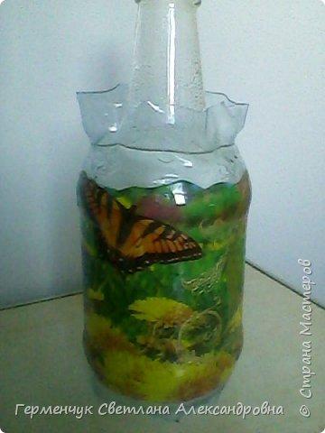 Сегодня  5 июня - Всемирный  день охраны окружающей среды  (День эколога).И  расскажу про   ламинирование пластиковой бутылкой стеклянных баночек ,бутылок ,кувшинов  .Информацию увидела в Интернете и решила попробовать..Вот так у меня вышло. фото 20