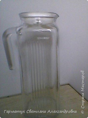 Сегодня  5 июня - Всемирный  день охраны окружающей среды  (День эколога).И  расскажу про   ламинирование пластиковой бутылкой стеклянных баночек ,бутылок ,кувшинов  .Информацию увидела в Интернете и решила попробовать..Вот так у меня вышло. фото 2