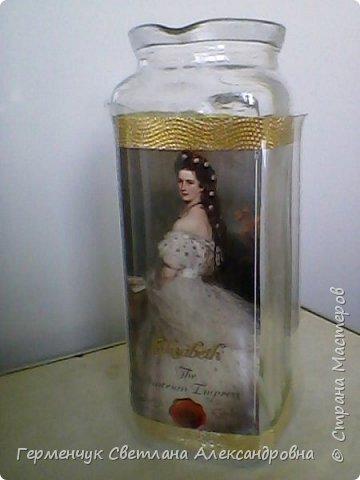 Сегодня  5 июня - Всемирный  день охраны окружающей среды  (День эколога).И  расскажу про   ламинирование пластиковой бутылкой стеклянных баночек ,бутылок ,кувшинов  .Информацию увидела в Интернете и решила попробовать..Вот так у меня вышло. фото 7