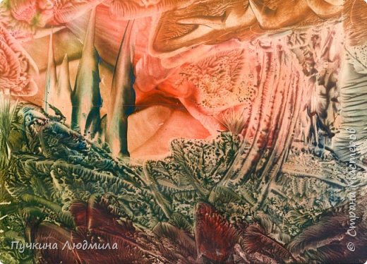 """Перо ЖАР-птицы"" , ф.А.4, картон, утюг, воск, техника - ""Энкаустика"" фото 2"