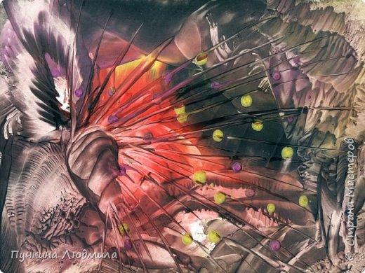 """Перо ЖАР-птицы"" , ф.А.4, картон, утюг, воск, техника - ""Энкаустика"" фото 1"