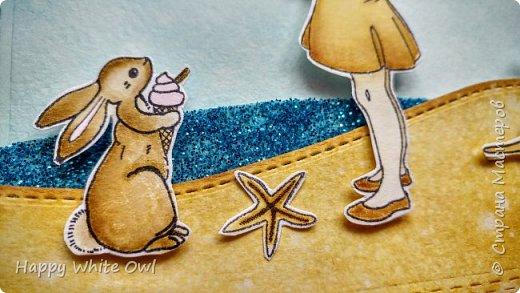 """Всем привет! Сегодня хочу поделиться с Вами серией открыток на тему """"Наслаждайся"""". А наслаждаться можно разным: жизнью, детством, летом. Хотелось вложить в них лёгкость и беззаботность. В работе использовала китайские штампы с детками и китайские ножи. Раскрашивала distress чернилами. фото 4"""