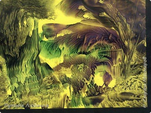 """""""Горное озеро"""", ф.А.4, картон, утюг, воск, техника """"Энкаустика"""". фото 3"""