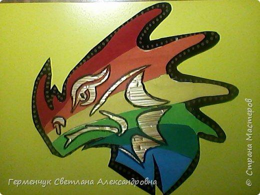 Дракон из соломки и бархатной бумаги фото 2