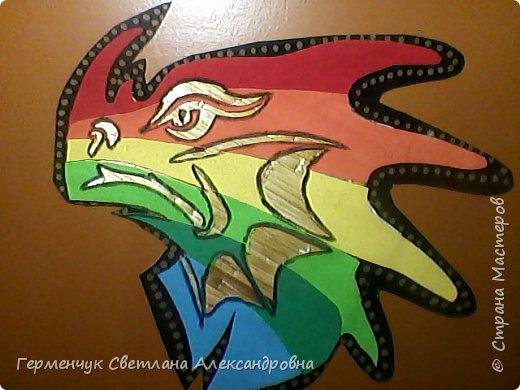 Дракон из соломки и бархатной бумаги фото 6