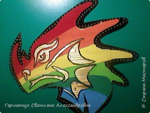 Дракон из соломки и бархатной бумаги фото 7