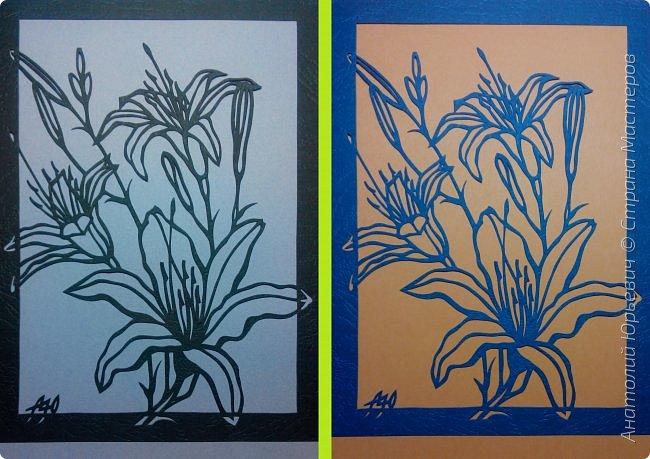 """Всем добрый день! Новая открытка с лилиями. Рисунок для эскиза взят из интернета, изменён и доработан под """"вырезалку"""". Размер 12х16см. фото 8"""