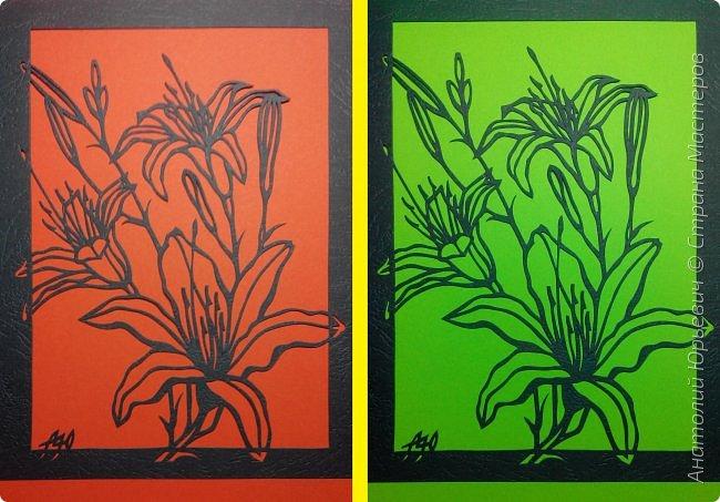 """Всем добрый день! Новая открытка с лилиями. Рисунок для эскиза взят из интернета, изменён и доработан под """"вырезалку"""". Размер 12х16см. фото 9"""