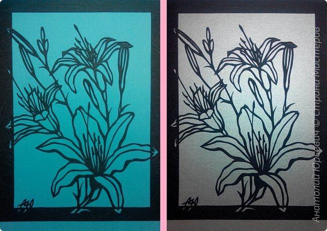 """Всем добрый день! Новая открытка с лилиями. Рисунок для эскиза взят из интернета, изменён и доработан под """"вырезалку"""". Размер 12х16см. фото 10"""