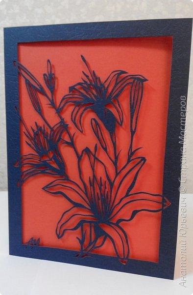 """Всем добрый день! Новая открытка с лилиями. Рисунок для эскиза взят из интернета, изменён и доработан под """"вырезалку"""". Размер 12х16см. фото 14"""