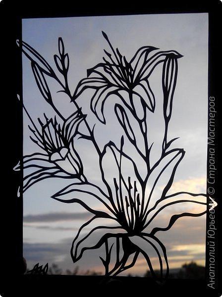 """Всем добрый день! Новая открытка с лилиями. Рисунок для эскиза взят из интернета, изменён и доработан под """"вырезалку"""". Размер 12х16см. фото 15"""