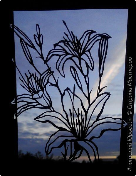 """Всем добрый день! Новая открытка с лилиями. Рисунок для эскиза взят из интернета, изменён и доработан под """"вырезалку"""". Размер 12х16см. фото 16"""
