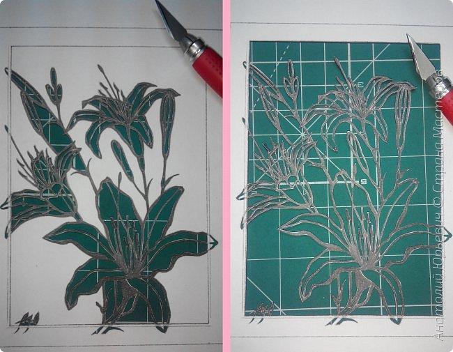 """Всем добрый день! Новая открытка с лилиями. Рисунок для эскиза взят из интернета, изменён и доработан под """"вырезалку"""". Размер 12х16см. фото 3"""