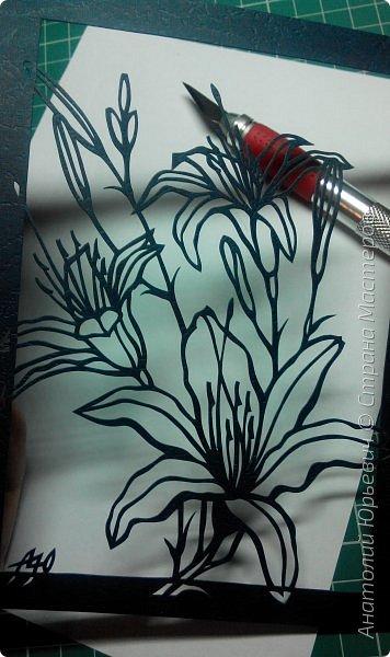 """Всем добрый день! Новая открытка с лилиями. Рисунок для эскиза взят из интернета, изменён и доработан под """"вырезалку"""". Размер 12х16см. фото 5"""