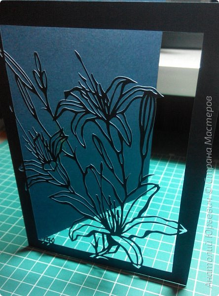 """Всем добрый день! Новая открытка с лилиями. Рисунок для эскиза взят из интернета, изменён и доработан под """"вырезалку"""". Размер 12х16см. фото 6"""
