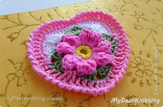 Предлагаю связать сердечко на основе мотива бабушкин квадрат. фото 2