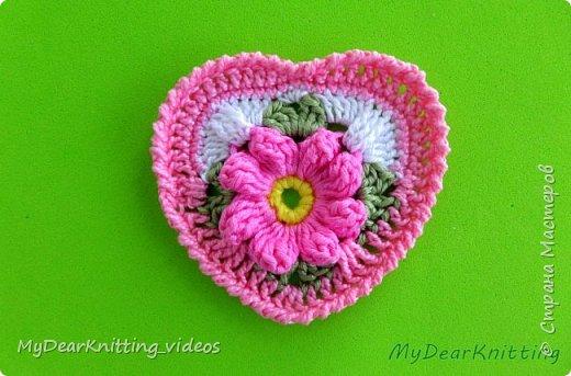 Предлагаю связать сердечко на основе мотива бабушкин квадрат. фото 1