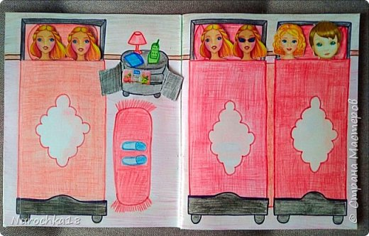 Доброго времени суток! Вот решила поделиться с вами своим видением бумажного кукольного домика, результатом своего труда. Этот бумажный домик был мною сделан для моей крестницы. Уж очень много у неё накопилось бумажных кукол :) фото 4