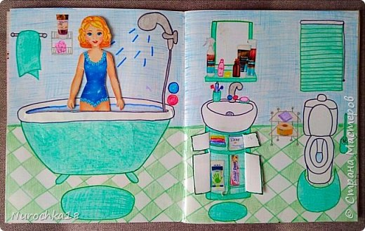 Доброго времени суток! Вот решила поделиться с вами своим видением бумажного кукольного домика, результатом своего труда. Этот бумажный домик был мною сделан для моей крестницы. Уж очень много у неё накопилось бумажных кукол :) фото 6