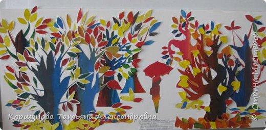 Ребята делали осеннее дерево из авторской бумаги, а когда их стало много , то  получился осенний парк.  фото 1