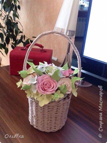 Корзиночку плела для букета из цветов из полимерной глины