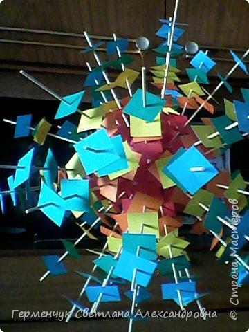 Такой подвеской - мандалой      можно украсить помещение  для праздника  .На фото  видны колокольчики   внизу подвески  ( фото № 6, 8)   фото 11