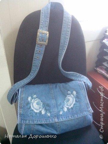 Джинсовая сумка вышитая фото 1