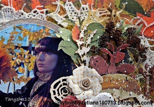 """Всем привет!!! Сегодня еще хочу показать Вам небольшой МК как я делала свое тканевое панно по Доске вдохновения июня  """"Я Женщина!"""" для блога Скрап Релакс.Панно я сделала  в моем любимом ЭКО стиле,и с одной из любимых фотографий,вернее о памятных моментах того прекрасного октябрьского дня.Погода стояла волшебная,желтые листья лежали ковром,и мы с семьей решили выйти на маленькую фотосессию.На этой фотографии глядя в даль,я задумалась о прекрасном,о новых начинаниях и приключениях которые ждут меня впереди )))).      Размер панно 18 см * 21 см,в работе использовала переплетный картон,синтепон,ткань,вырубку,высечки,шишки,стеклянный камушек,чипборд,сизаль,кружево,цветочки,акриловая краска. Вот такое панно у меня получилось: фото 32"""