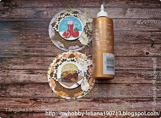 """Всем привет!!! А я снова вернулась ))).Сегодня покажу Вам """"Мини-МК Магнитов"""" на холодильник,который я сделала для нашего бложика Art Land. Вот такие круглые магнитики я сделала (можно их делать любой формы,прямоугольные,квадратики,звездочки,сердечки ....), размер их 12 см (в диаметре). В работе использовала нашу бумагу из новой коллекции """"Мои вкусняшки"""", а также фишки и высечки. фото 12"""