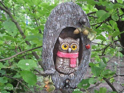 Привет! А я с новой работой к вам! Давно хотелось сделать сову в дупле, увидев у Раисы Филатовой ее сову,  сразу взялась за работу. Основа - гофрированный картон в три слоя, сова - из теста, декор - из холодного фарфора. Кора дерева  - папье-маше.    Наверное, потому что на улице не жарко, все совы у меня тепло одеты. Правда, листики пожелтели, вроде бы как осень. фото 3