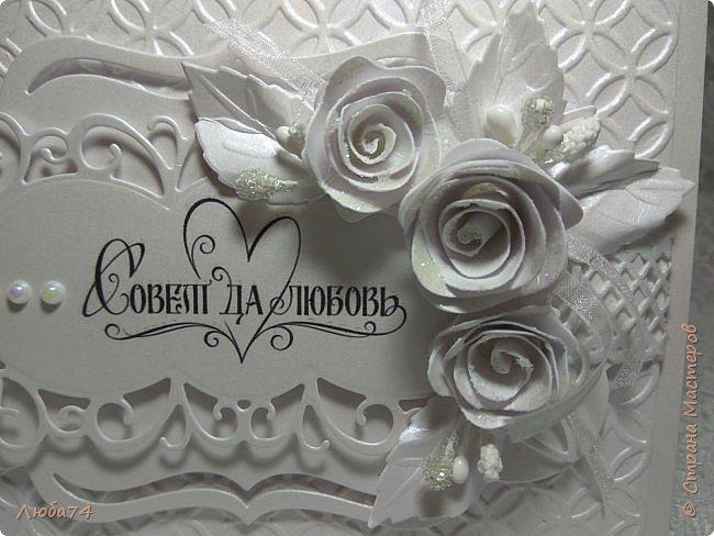 Всем, доброго дня! Хочу показать вам нежную, белую свадебную открыточку и расадочные карточки.  фото 5
