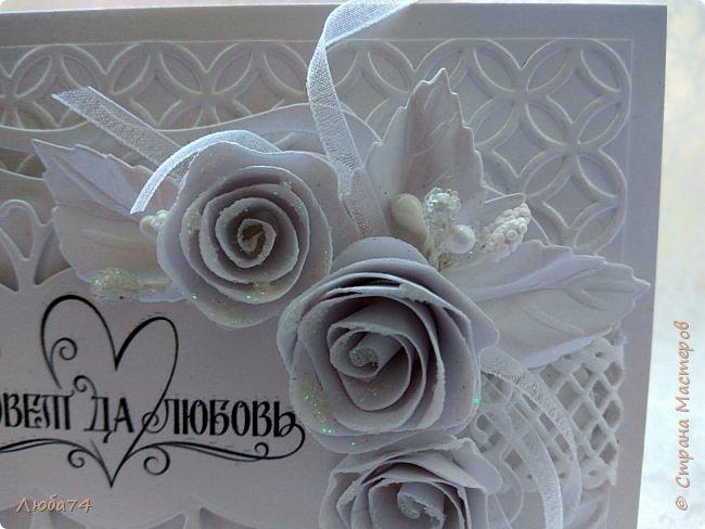 Всем, доброго дня! Хочу показать вам нежную, белую свадебную открыточку и расадочные карточки.  фото 9