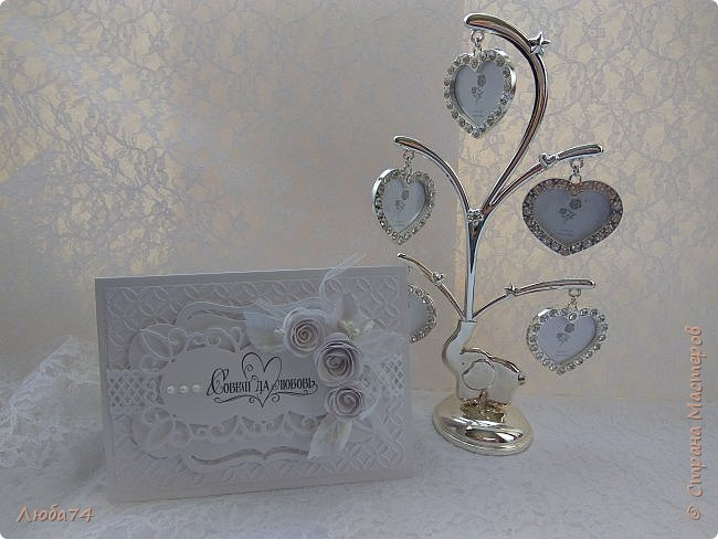Всем, доброго дня! Хочу показать вам нежную, белую свадебную открыточку и расадочные карточки.  фото 17