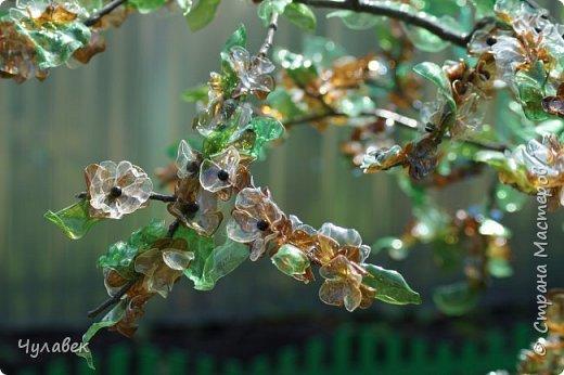Дерево для украшения сада из пластиковых бутылок фото 3