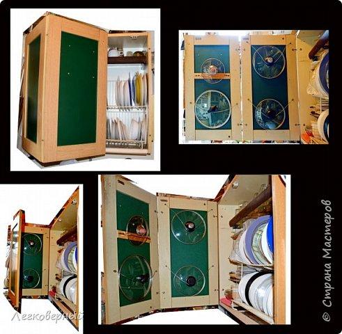 """Куда девать крышки от кастрюль и сковородок? Вопрос актуальный для многих. Один из вариантов предлагаю. Вот мой кухонный шкафчик. Раньше он был распашной на 2 дверцы. Сейчас это чудо-дверца (см. посты """"Чудесная дверца"""" и """"Дизайн чудо-дверцы""""). Однако, мой вариант годится и для обычных дверец. Заглянем внутрь. фото 2"""