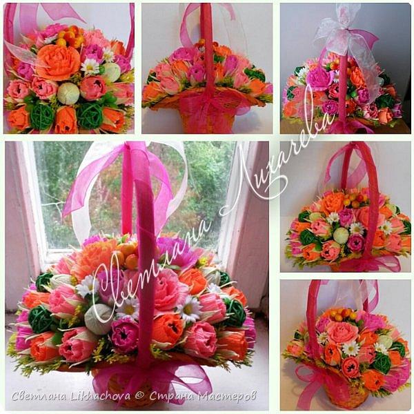 Букеты и корзины из конфет. Летняя корзина с цветами.