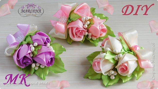 Розы канзаши мастер-класс. Заколка/бутоньерка с бутонами роз фото 1