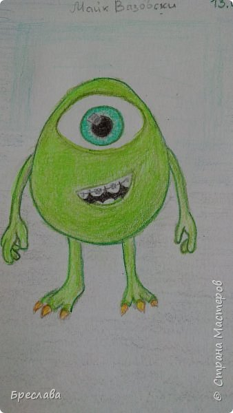 """Рисунок на конкурс """"Персонажи Pixar"""" http://stranamasterov.ru/node/1100771#comment-14783636. Думаю, этого персонажа представлять не нужно. фото 1"""