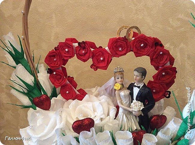 """Всем жителям прекрасной страны добрый вечер!!! В субботу у племяшки свадьба, считаю, что к конвертику, должно быть что-то еще, не забываемое и приятное... поэтому решила сделать """"свадебную корзину""""... опыта совсем не имею, поэтому косяков много, но.... уж теперь как есть.... фото 3"""