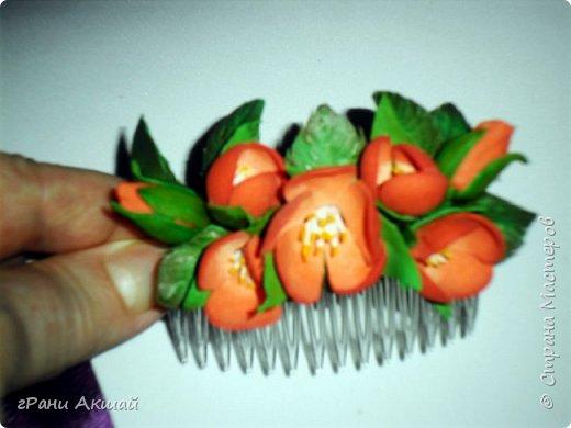 украшение для волос-гребни со цветами фото 3
