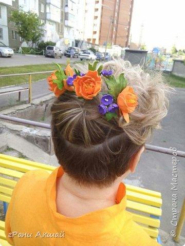 украшение для волос-гребни со цветами фото 15