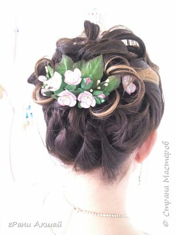 украшение для волос-гребни со цветами фото 7