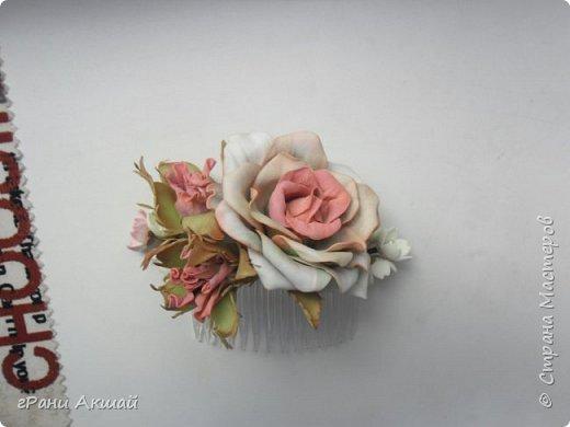 украшение для волос-гребни со цветами фото 11