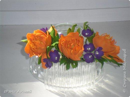 украшение для волос-гребни со цветами фото 13