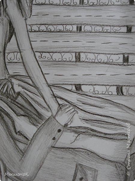 И еще раз всеееем приветик!!!)  Вот такой рисунок у меня нарисовался вчера)  Рисунок выполнен простым карандашом, на листе формата А4 фото 5