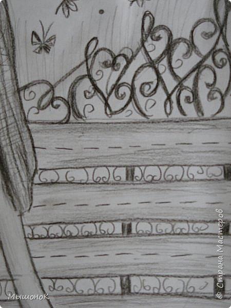 И еще раз всеееем приветик!!!)  Вот такой рисунок у меня нарисовался вчера)  Рисунок выполнен простым карандашом, на листе формата А4 фото 6